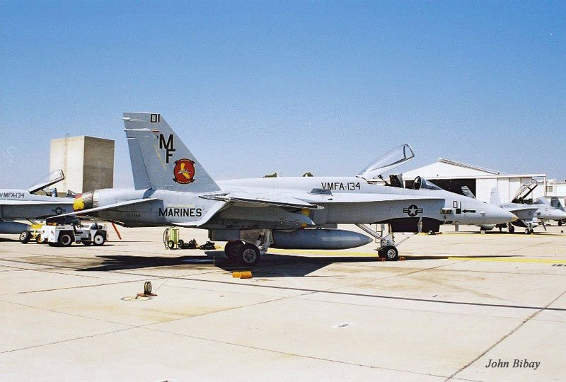 This F/A-18A was the COu0027s jet about a decade ago. Note the false canopy painted on this jet. & Miramar USMC Hornets by John Bibay