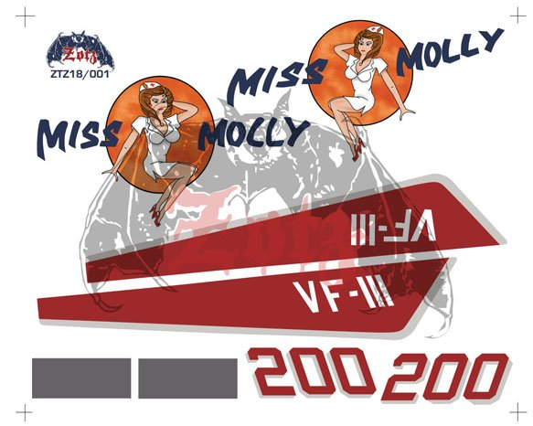 Zotz Decals 1/18 F-14A Miss Molly VF-111 decal sheet