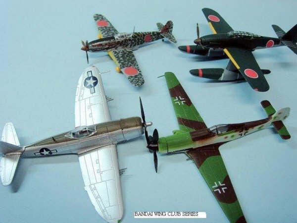 1//144 Bandai Wing Club Curtiss P-40N Warhawk X 4 models No box.