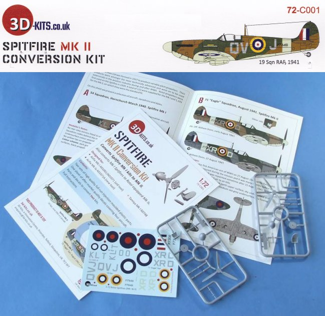 72-C001 3D-Kits 1:72 Spitfire MK II Kit de conversion Airfix TAMIYA /& Others